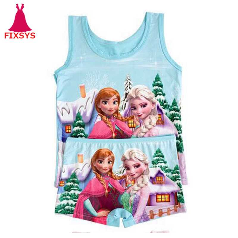 جديد الصيف الأطفال الفتيات الملابس مجموعة فتاة عادية آنا إلسا أنيمي تأثيري زي شاطئ الأميرة سترة + سراويل قصيرة الزي 2-6T