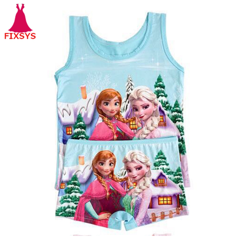 New Summer Children Girls Clothes Set Casual Girl Anna Elsa Anime Cosplay Costume Beach Princess Vest + Short Pants Outfit 2-6T