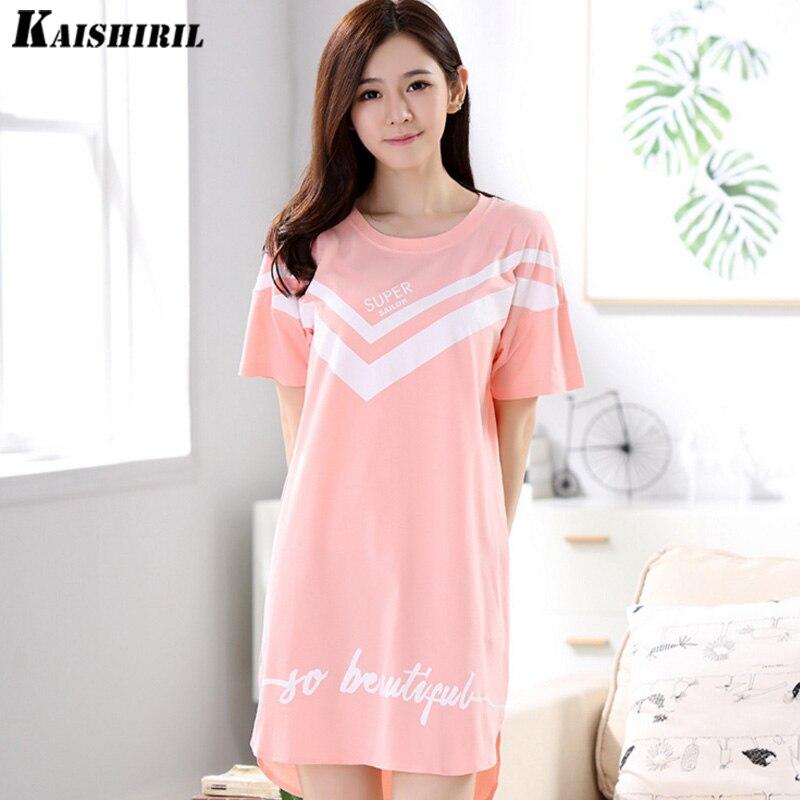 Fashion Women Cotton Nightgowns Sleepshirts 2018 Summer Home Dress Animal Sleepwear Loose Comfortable Nightdress Indoor Clothing