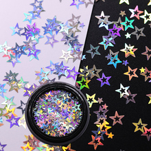UR SUGAR Star  Nail Glitter Sequins Silver Colorful Tips Shiny  Nail Art Decorations for Salon Home DIY