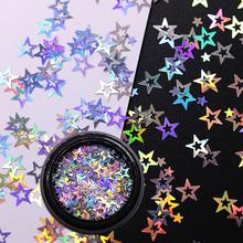 UR SUGAR Star paznokci błyszczące cekiny srebrne kolorowe porady błyszczące paznokci dekoracje artystyczne dla Salon domu DIY tanie tanio 1 Box Plastic Paznokci brokat Star Holographic Nail Glitter Sequins