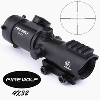 Eyebre FIRE WOLF Tactical 4X32LER Red Dot Sniper Scope Airsoft Sight Riflescope Night Vision Rifle Scope