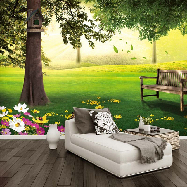 Us 10 49 40 Off Photo Wallpaper Green Grassland Tree Nature Landscape 3d Mural Living Room Bedroom Design Cozy Eco Friendly Wallpaper Home Decor In