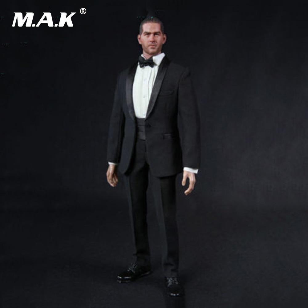 1 6 Scale Gentleman Clothes Suit TC 62016 Black Men Suits Set Clothes Models Fit For