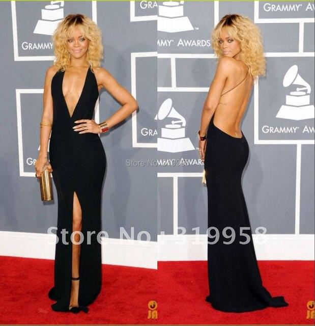Hot Rihanna Sexy Deep V-neck Black Open Back Sheath Long 54 Grammy Awards Red Carpet  Celebrity Evening Formal Dresses Gowns