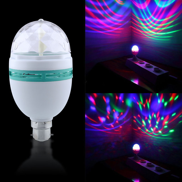 b22 3w rgb led multi color stage party light bulb auto rotating crystal disco club decor. Black Bedroom Furniture Sets. Home Design Ideas