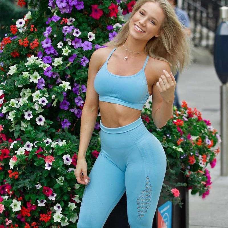 2PCS Yoga Set Strappy Bra Seamless Leggings Women Gym Fitness Clothing High Waist Yoga Leggings Set Running Sportswear Tracksuit