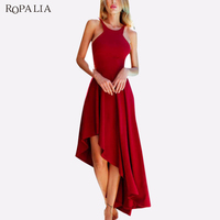 ROPALIA Vintage Summer Dress Women Halter Irregular Hem Dress Sexy Backless Bodycon Party Dresses Vestidos Women