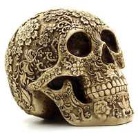 Humans Skull Replica Skull Ornament Resin Sculptures Decorative Statues Exquisite Pattern Skull Statues for Decoration