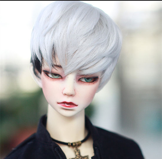 Doll Wigs Silk Gray Black Mixted Color High Temperature Wire Available For 1/3 BJD SD DD Doll Wigs Soft Wigs