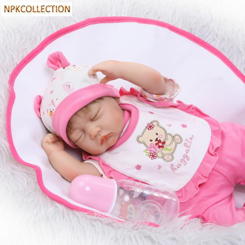 NPKCOLLECTION 15 Inch Soft Body Silicone Reborn Dolls Toys for Girls Newborn Baby Alive Bonecas Toys for Children Christmas Gift 22 inch soft body silicone toddler reborn baby dolls real alive newborn baby dolls toy gift for girls christmas new year gifts
