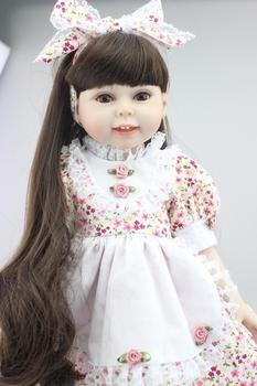 18''  Brown Long Straight Hair Dolls Reborn Baby Dolls Floral Skirt Newborn Baby Doll Baby Toys Soft Girls Gift