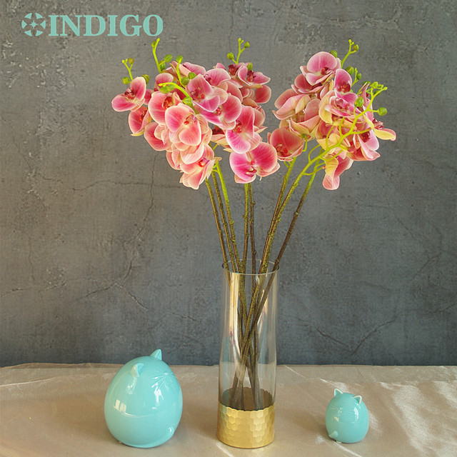 12f8ef35d6d US $1.89 5% OFF|INDIGO 7 flowers/Stem Purple Heart Phalaenopsis Silk Latex  Coating Orchid Real Touch Orchids Wedding Flower Free Shipping-in ...