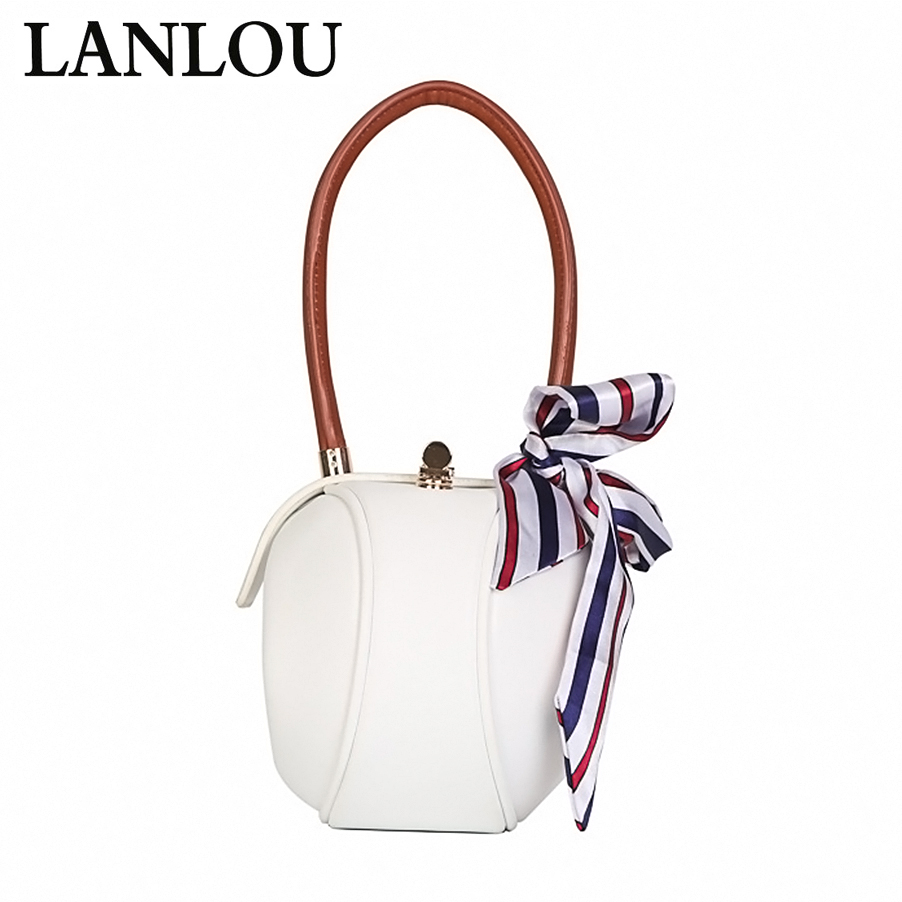 LANLOU Women's Handbags Leather  Bags For Women 2019 Shoulder Bags Ladies Crossbody Small Round Scarf Scarf Female BagS