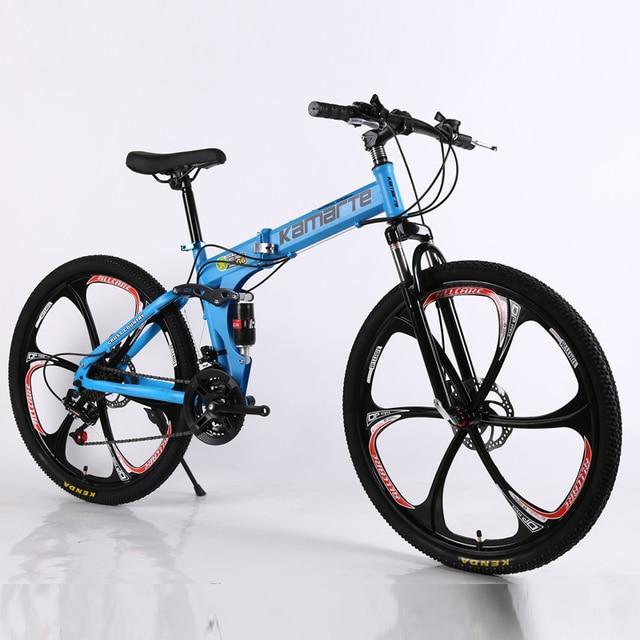 26 дюймов складной горный велосипед 21 скорость двойной дисковые тормоза велосипед 6 нож колесо и 3 нож колесо горный велосипед