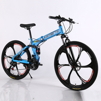 20 26inch Folding Mountain Bike 21 Speed Double Disc Brakes Bicycle 6 Knife Wheel And 3