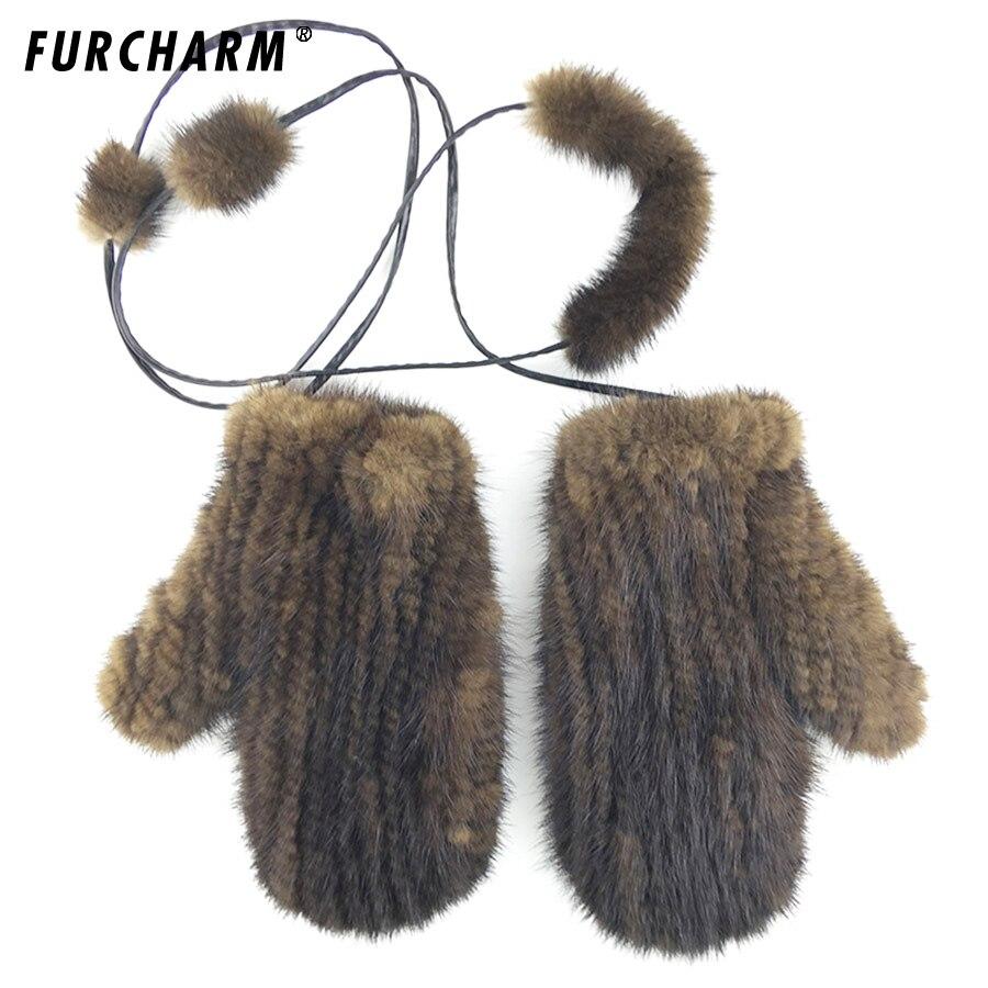 Offre spéciale gants d'hiver femmes 3 couleurs tricoté vison fourrure gant avec vison de mode solide vison chaud femme cadeau pour femme