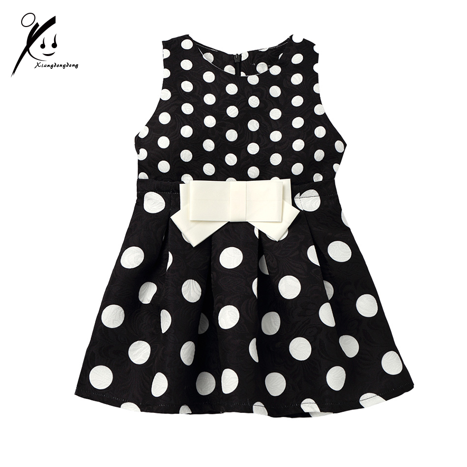Polka Dot Dresses for Girls 3/4/5/6/7 Years Princess Party Pageant Kids Dress Chidlren Sleeveless Bow A Line XDD7407 new v neck princess girl polka dot dress bow belt pattern fashion pageant party kids clothing dot vestido girl 8 years baptism