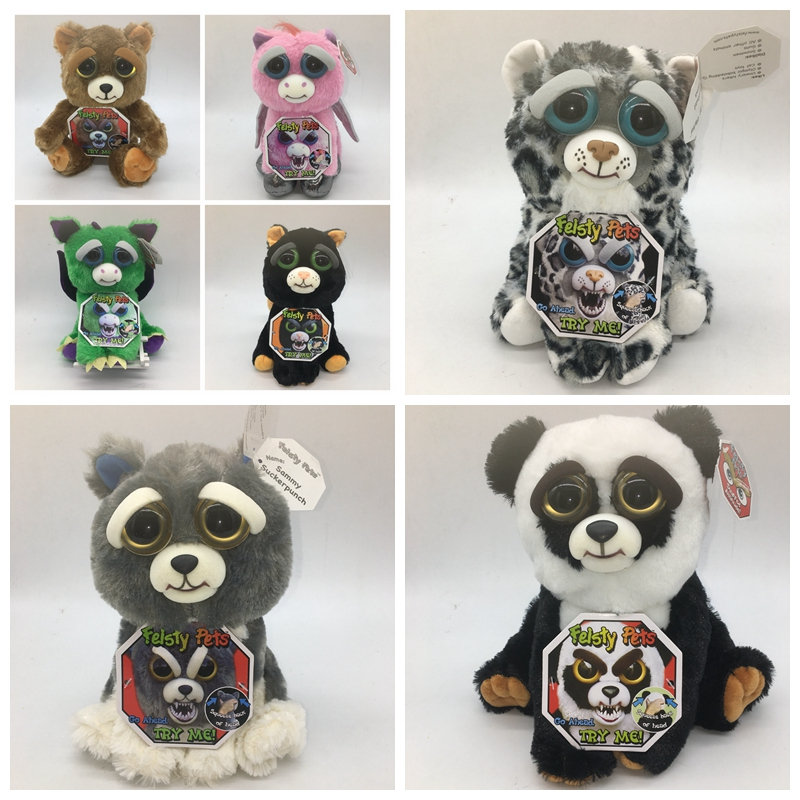 Feisty Pets Roaring Angry Toy Dog Cat Children Gift Feisty Pet lion Panda Change Face Stuffed Animal Doll Plush Toys For Kids push along walking toy wooden animal patterns funny kids children baby walker toys duckling dog cat development eduacational toy