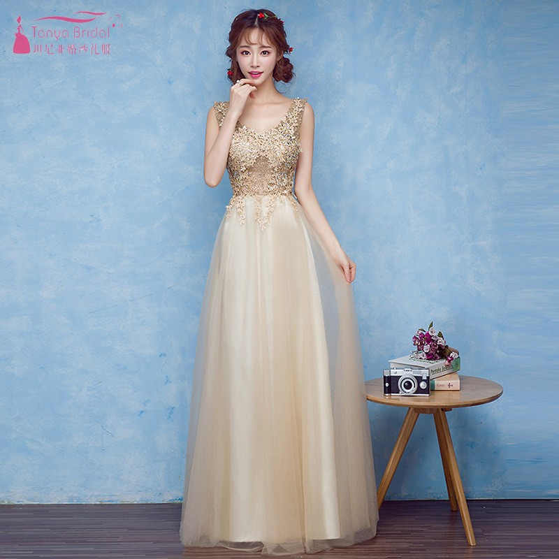 Gold Lace Applique Champagne   Bridesmaid     Dresses   Long Formal   Dress   Women vestido de festa longo   dress   for wedding Party JQ47
