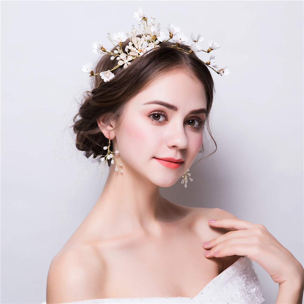 White Flower Handmade Headband Gold Color Beads Crown Tiara Bridal