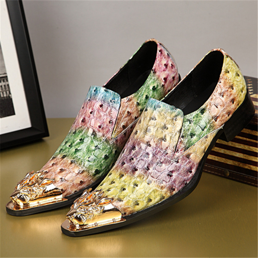 New Fashion Colorful Oxford Shoes Men Slip On Wedding Dress Shoes Business Leather Shoe Mens Oxfords Creepers Flats fashion pointed toe men rhinestone oxfords business wedding leather shoes mens slip on flats prom dress oxford shoe creepers