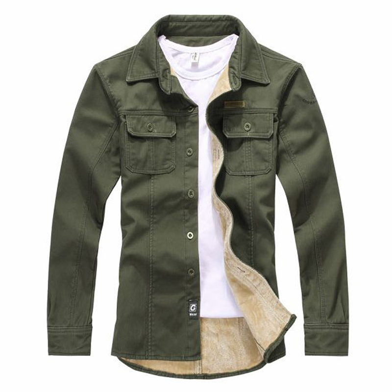 Spring Autumn Fleece Lined Turn down Collar Shirt Olive Green ...