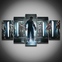 Movie Posters Marvel Iron Man Picture Painting On Canvas 5 Panels For Children's Room Wall Decor Home Decoration Canvas Art