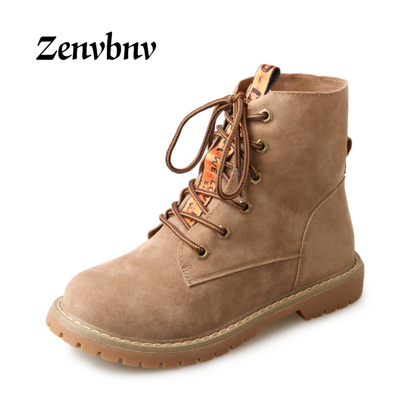 ZENVBNV New 2017 Autumn Early Winter Shoes Women Flat Heel Boots Fashion Women casual shoes Brand Woman Ankle Botas Hard Outsole