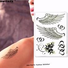 Nu-TATY Angel Wings Temporary Tattoo Body Art Flash Tattoo Stickers 17x10cm Waterproof Fake Tatoo Car Styling Wall Sticker