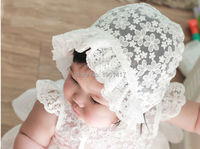 Free Shipping Lace Cap Girls Dress Accessories Baby Bonnet Flower Hat