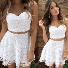 2018 White Casual Summer Women 2 Two Piece Lace Crop Top and Skirt Set White Spaghetti Strap V Neck Mini Vestido Club Party Wear