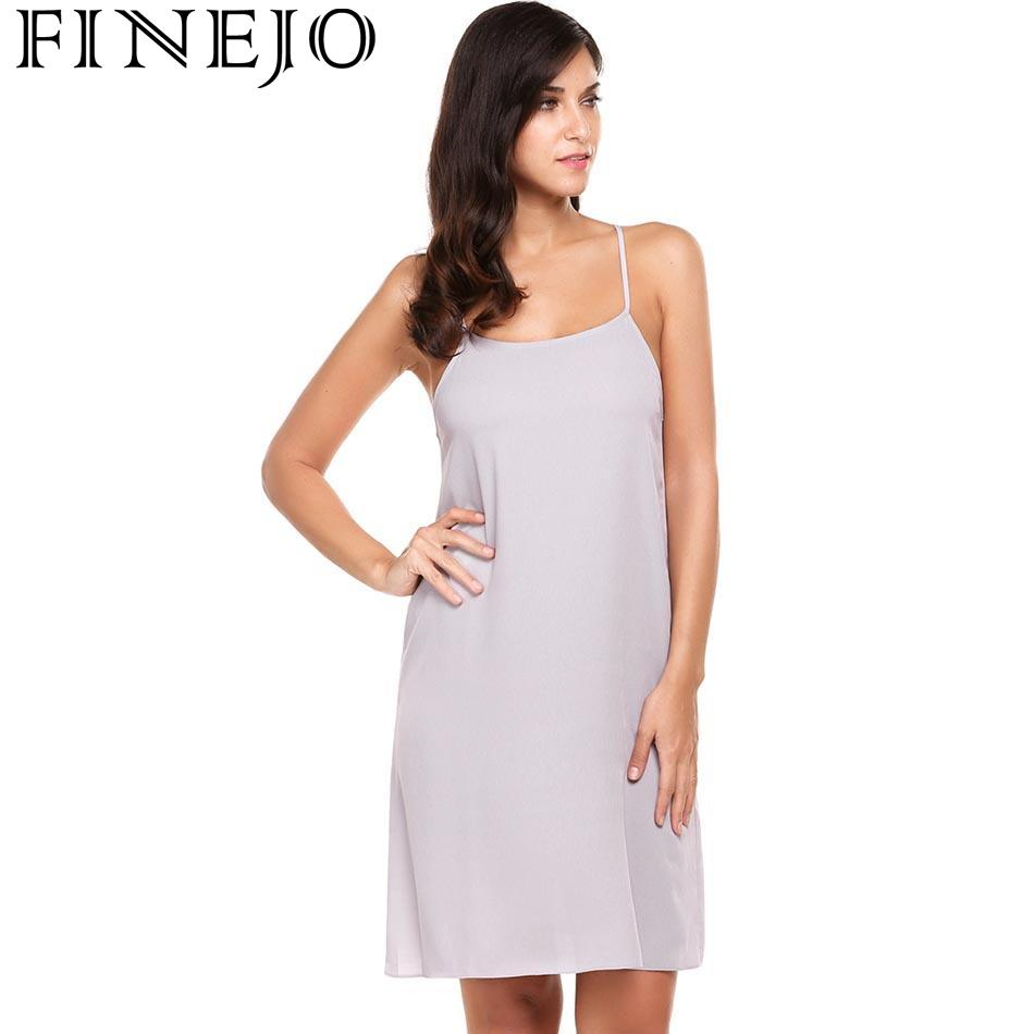 FINEJO Sexy Casual Sleeveless Solid Backless O Neck Chiffon Women A-Line Dress