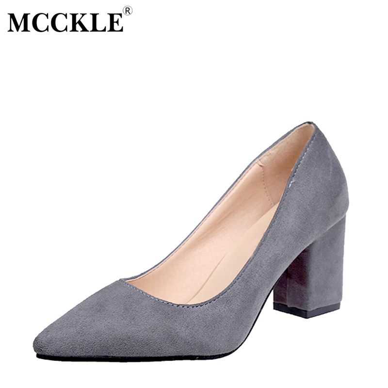 MCCKLE Female Slip On Party Pointed Toe Chunky Heel Flock High Heels Ladies Casual Plus Size Fashion Black Pumps Women's Shoes lady glitter high fashion designer brand bow soft flock plus size 43 leisure pointed toe flats square heels single shoes slip on