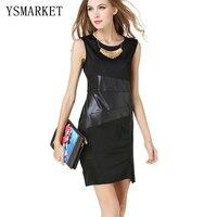Sommer schwarz patchwork kunstleder dress split clubwear sleeveless patry bodycon frauen sexy club tragen bleistift mini dress e1143