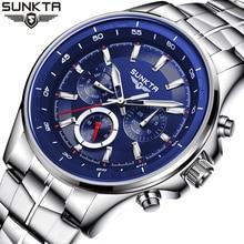 SUNKTA Mens Watches Luxury Brand Military Sport Quartz Watch Men Fashion Waterproof Stainless Steel Wrist Watch Relojes Hombre