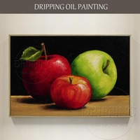Artist Hand painted Impressionist Still Life Fruit Oil Painting on Canvas Delicious Apple Oil Painting for Kitchen Decoration