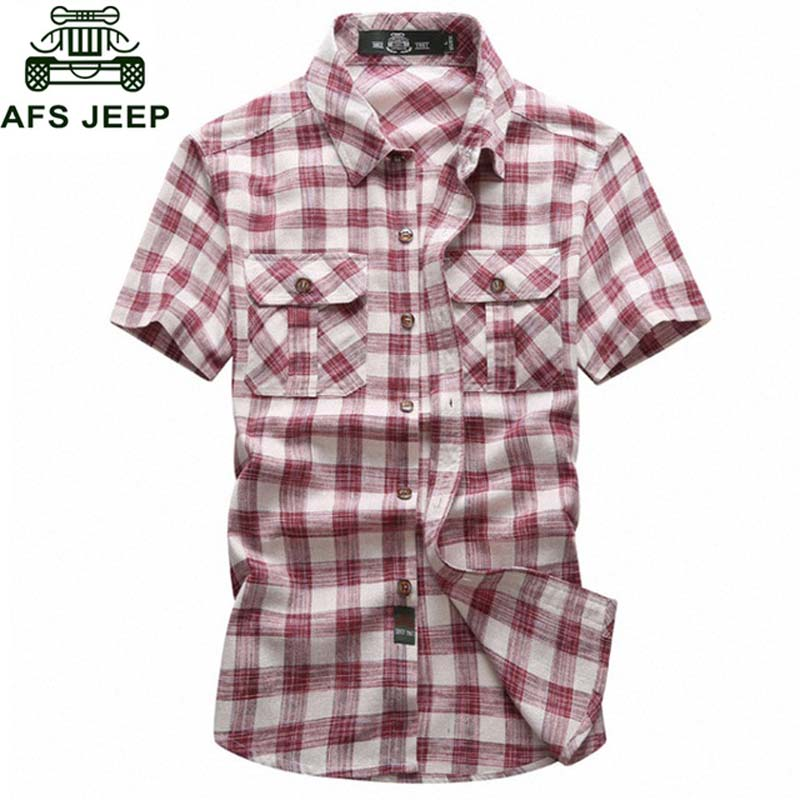 Brand Clothing 2018 Summer Plaid Shirt Men Short Sleeve Military Casual Loose Men Shirt Big Size 5XL Cotton Shirts Camisa Hombre