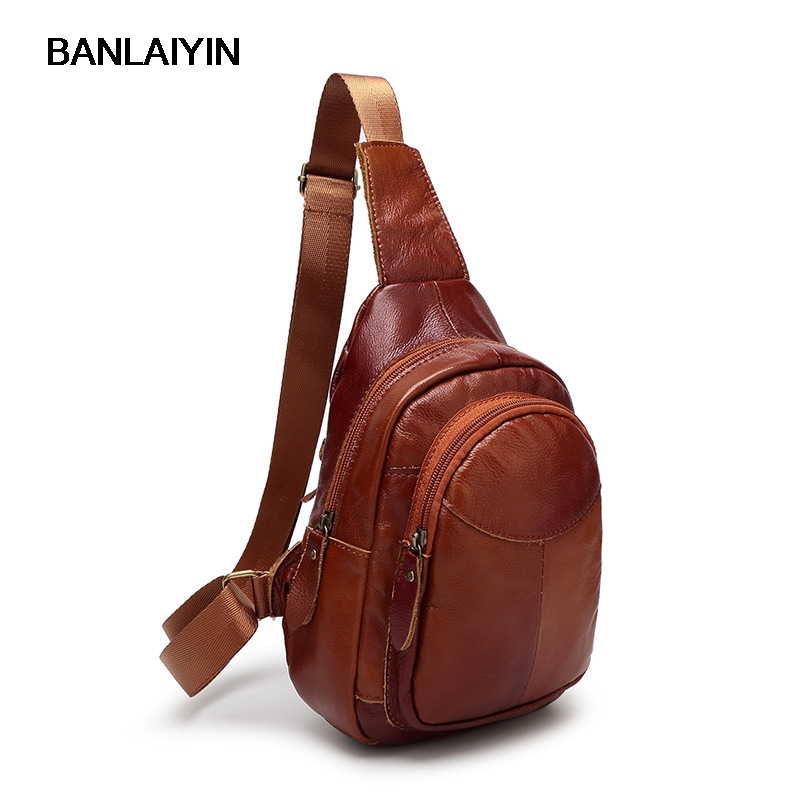 New Men Chest Pack Single Shoulder Strap Back Bags Genuine Leather Travel Women Crossbody Bags Vintage Chest Bag