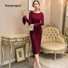 2018 Autumn Red Flare Long Sleeve Dress Women O-neck Bodycon Wrap Dresses Solid Causal Elegant Vestidos Verano