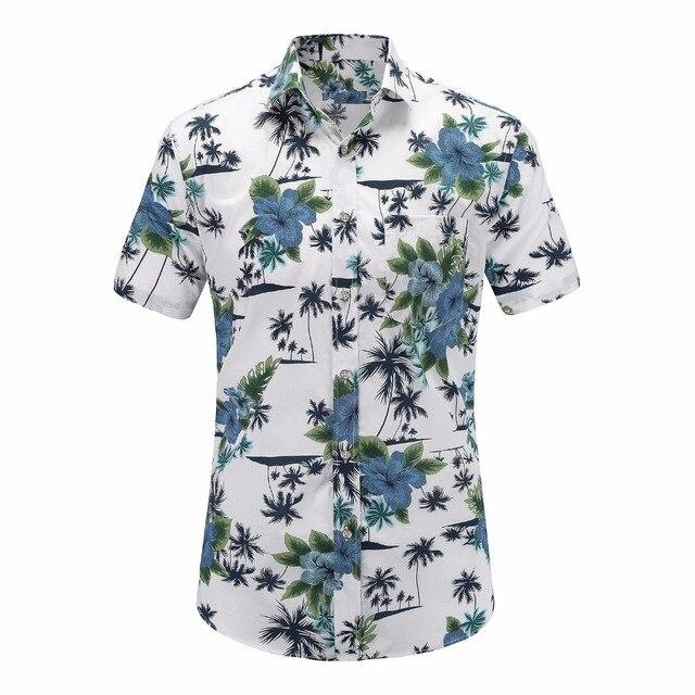 463454ec4b576b Dioufond Casual Mens Beach Hawaiian Shirts Cotton Floral Print Short Sleeve  Tops Man Turn Down Color Plus Size Mens Blouses 2019