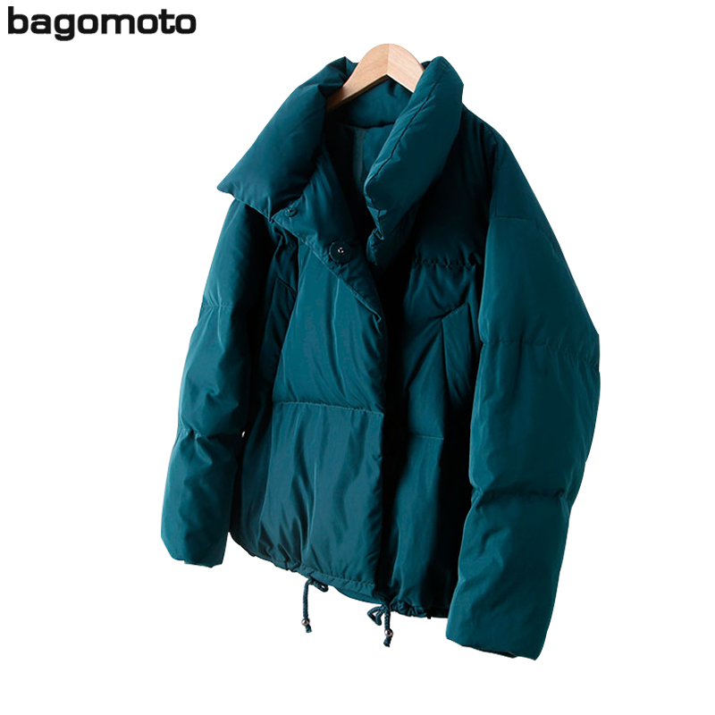 Bagomoto 2018 Autumn Winter Coat Female Stand Down Jacket Women Parkas Warm Clothing