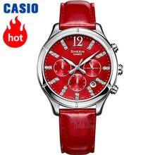 Часы Casio SHEEN женские часы Swarovski Crystal топ класса люкс комплект 30м водонепроницаемые кварцевые женские часы женские хронограф стразы подарки часы спортивные часы relogio feminino reloj mujer montre homme