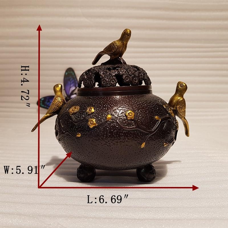 Vintage Chinese style bronze bird incense burner decoration (1)_