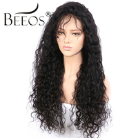 BEEOS Peruvian Human Hair Lace Front Wigs Black Women Pre Plucked Remy Hair Curly Wigs Bleached Knots Lace Front 250% Density
