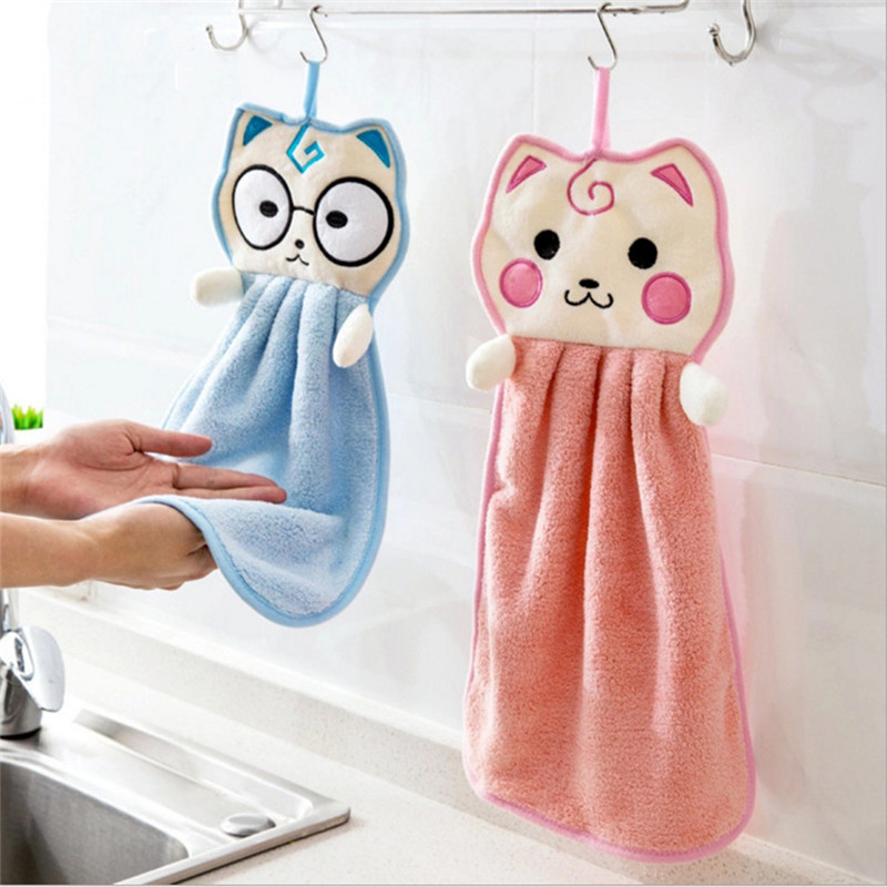 Cartoon Kitten Shaped Coral Fleece Hand Towel Baby Wipe Children Handkerchief ...