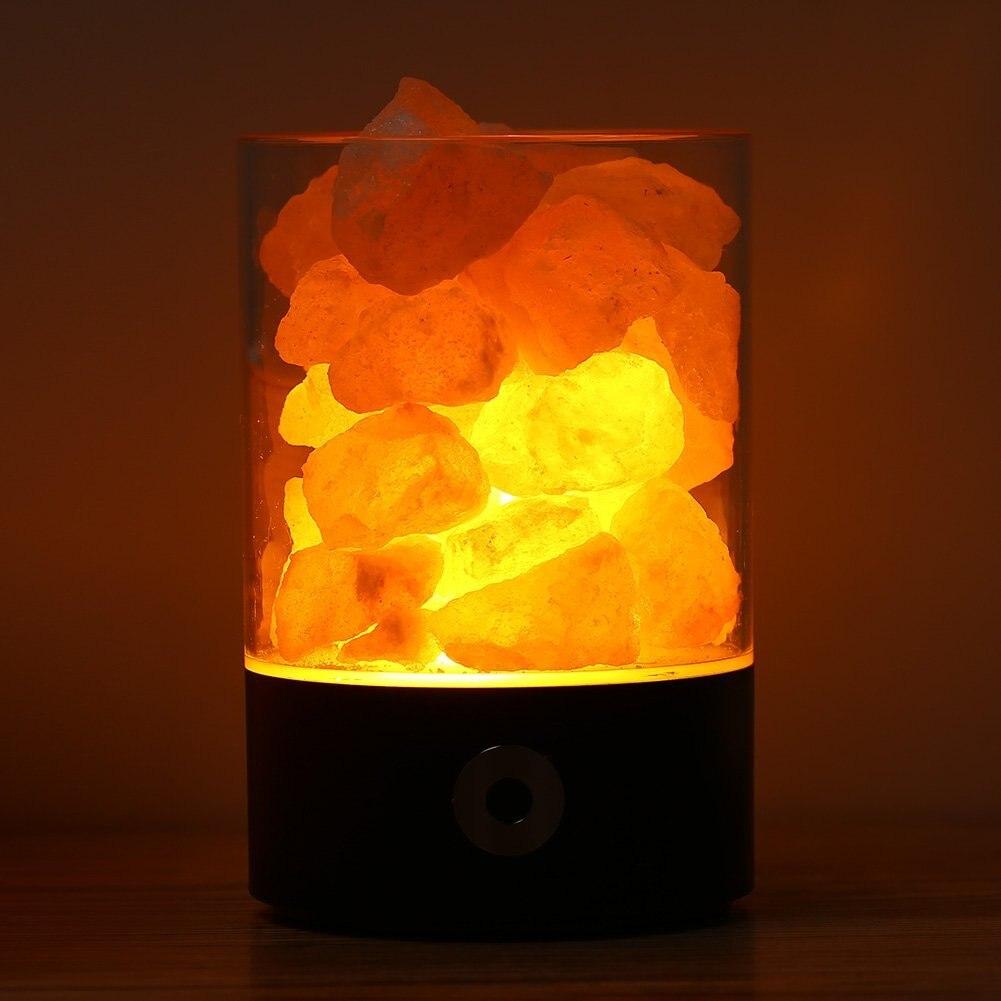 USB Real Himalayas Salt Crystal Rock Lamp Good for Health Small Mineral Negative Ionic Stone Lava Salt Night Light for Bedroom