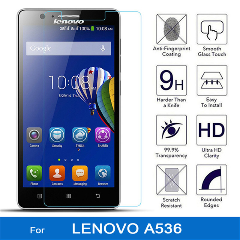NFH 0.26mm Tempered Glass For Lenovo A536 A 536 9H Hard 2.5D Arc Edge High Transparent Screen Protector For Lenovo A536