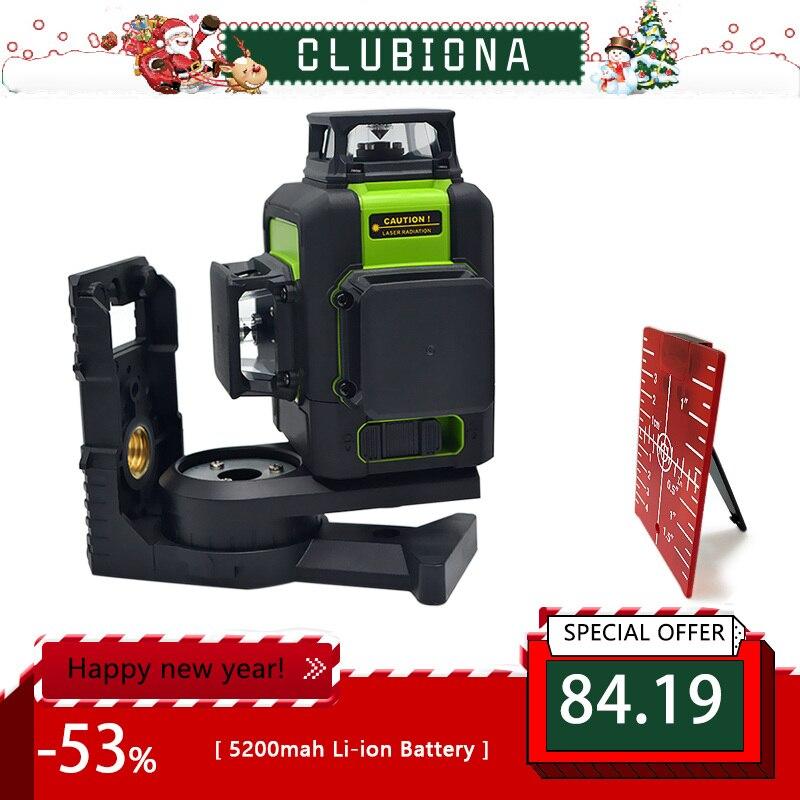 Clubiona 3D 12RC 12 линий лазерный уровень с батареей 5200 мАч и горизонтальными и вертикальными линиями работают отдельно красные лазерные лучи