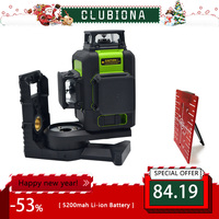 Clubiona 3D 12RC 12 Lines Laser Level with 5200 mah BATTERY & Horizontal And Vertical Lines Work Separately Red Laser Beam Lines